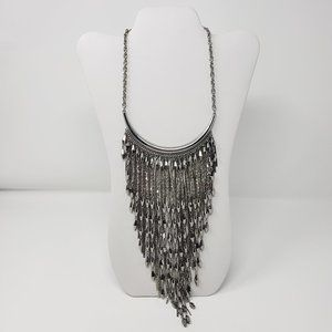 Chicos Skylar Bib Silver Tone Statement Necklace